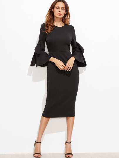 Black Bow Embellished Bell Sleeve Pencil Dress