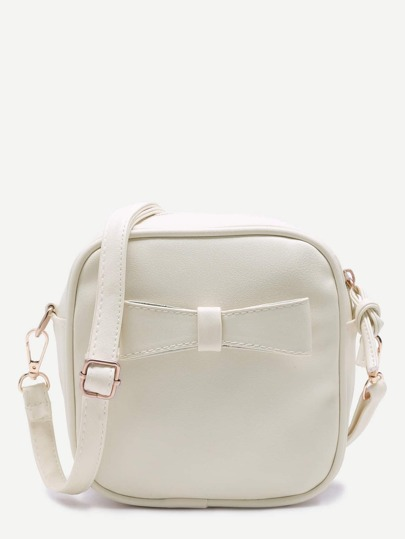 White Faux Leather Bow Mini Crossbody Bag