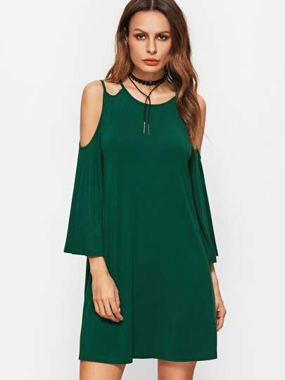 Green Double Strap Cold Shoulder Keyhole Back Bell Sleeve Dress