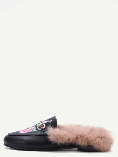 Chaussons en cuir PU avec broderie rose fourrure - noir
