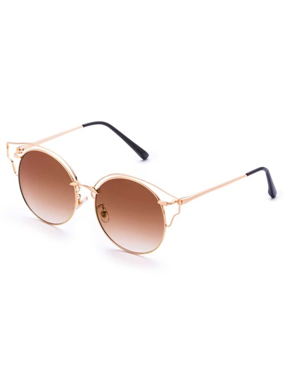 Gold Frame Brown Lens Cat Eye Sunglasses