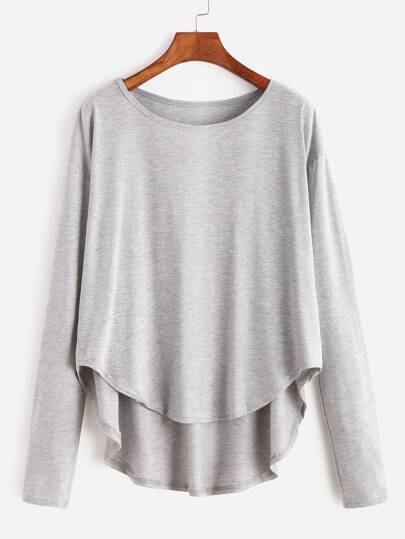 Heather Grey Drop Schulter Hoch Niedriges T-Shirt