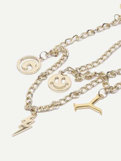 Gold Metal Charm Embellished Chain Strap