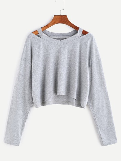 Kurze T-shirt Cut-Outs Kragen-grau