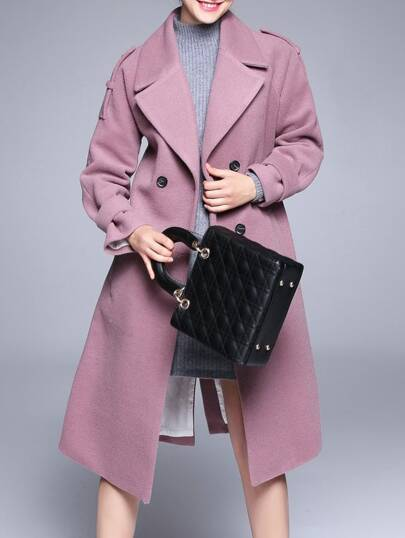 Pink Lapel Tie-Waist Pockets Coat