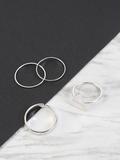 Triangle Pendant Metallic Ring Set SILVER