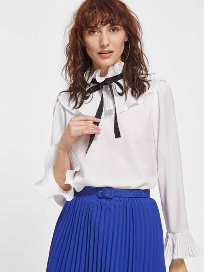 White Ruffle Collar Bow Tie Pleated Cuff Blouse