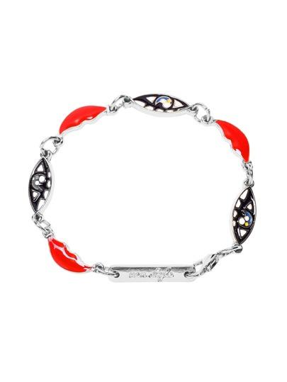 Silver Tone Boho Charm Link Bracelet