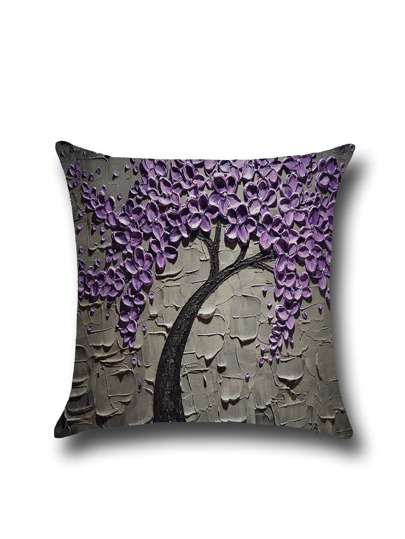 Purple Flower Print Simple Pillowcase Cover