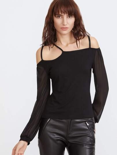 T-Shirt Maniche A Rete Contrasto Spalle Fredde - Nero