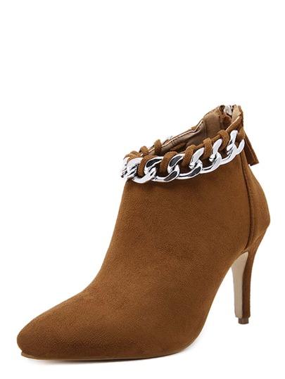 Botines de tacón con adorno de cadena - camello