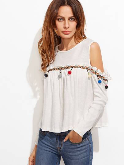 White Woven Tape And Pom Pom Embellished Cold Shoulder T-shirt