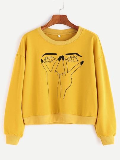 Yellow Gesture Print Contrast Trim Sweatshirt