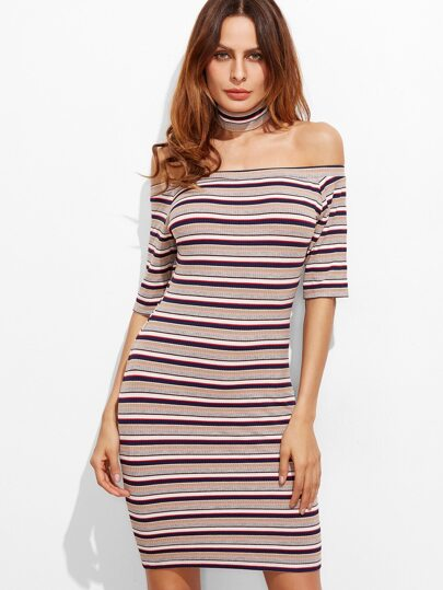 Multicolor Striped Off The Shoulder Ribbed Knit Dress With Choker