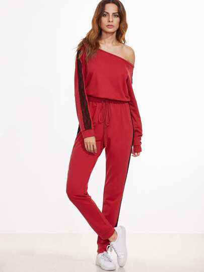 Red Contrast Lace Sideseam Asymmetric Shoulder Sweat Jumpsuit