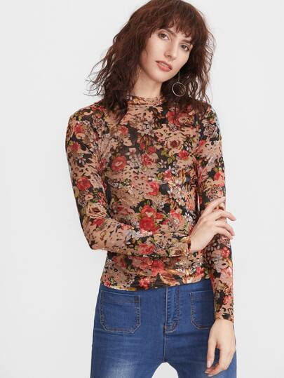 Multicolor Floral Print Mock Neck Slim Fit T-shirt