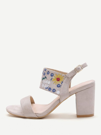 Beige Embroidery Strap Chunky Heeled Sandals