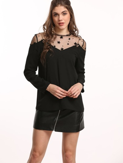Black Star Mesh Top With Chain Strap Cold Shoulder Top