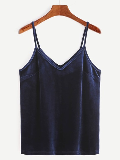Navy Velvet Cami Top