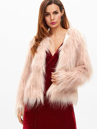 Pink Open Front Faux Fur Coat