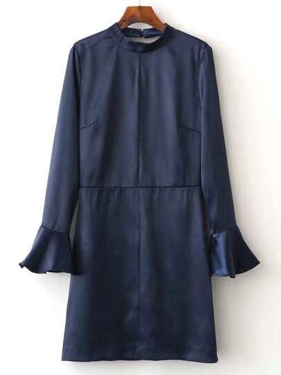 Navy Cutout V Back Ruffle Cuff Dress