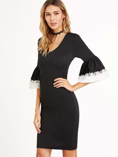Black Contrast Lace Trim Bell Sleeve Sheath Dress