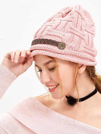 Bonnet tricot de câble -rose