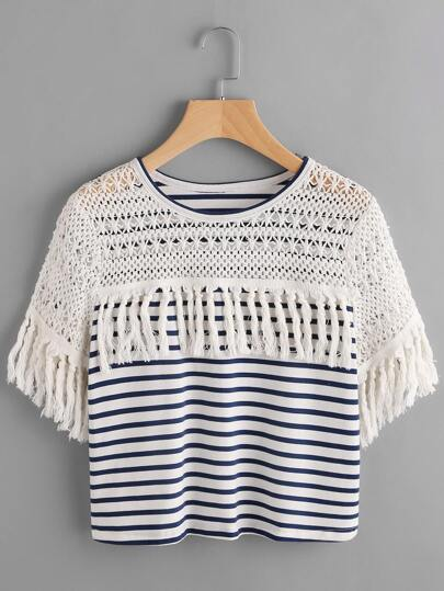 Navy And White Striped Crochet Shoulder Tassel Trim T-shirt