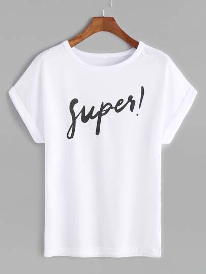 White Letter Print Roll Sleeve T-shirt