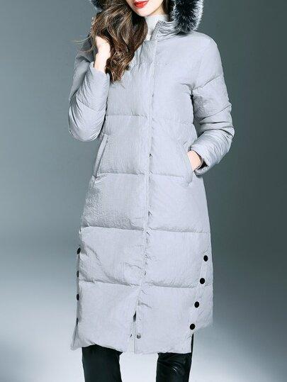 Graue Reißverschlusstaschen Mit Kapuze Langer Mantel