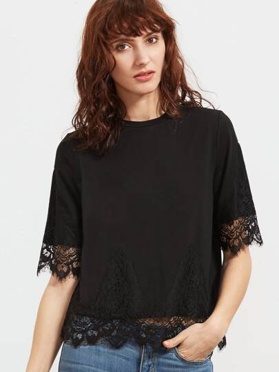 Black Floral Lace Trim Short Sleeve T-shirt