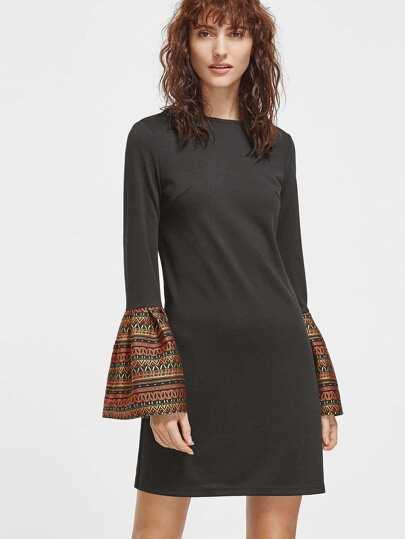 Kleid Tribal Druck Bell Manschette-schwarz