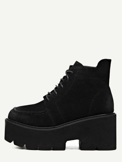Black Distressed Faux Leather Platform Ankle Boots