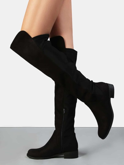 Over the Knee Stretch Flat Boots BLACK