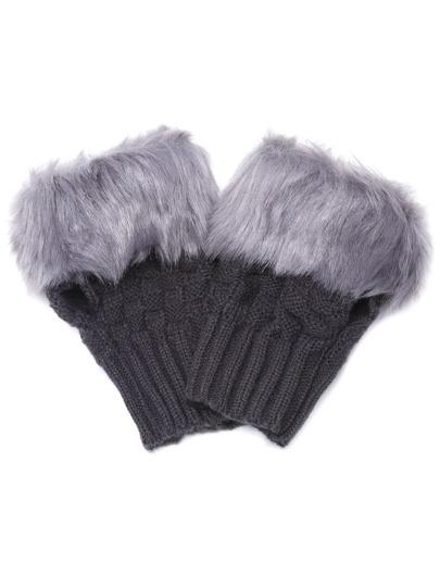 Chauffe-main tricoté en faux cuir poignet demi-doigt -gris foncé