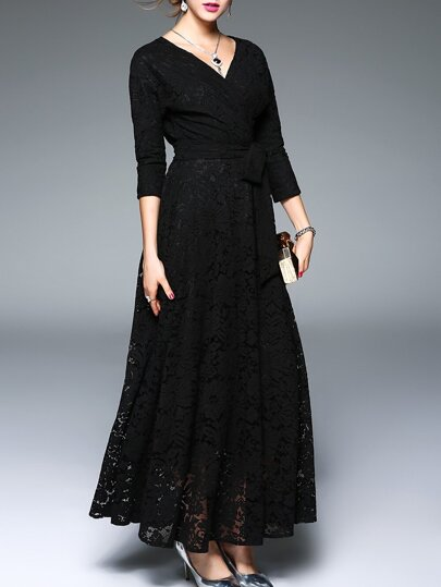 Schwarz mit V-Ausschnitt Tie-Taillen-Maxi Kleid