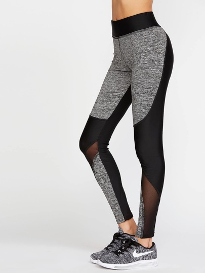 Contrast Space Dye Mesh Insert Leggings