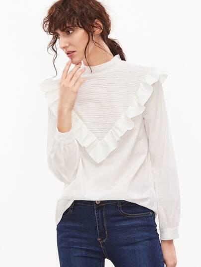 Blusa con bordado y volantes - blanco