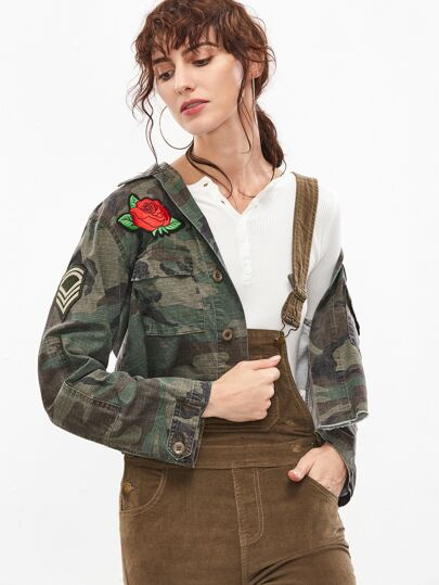 Army Green Camouflage Applique Cropped Jacket