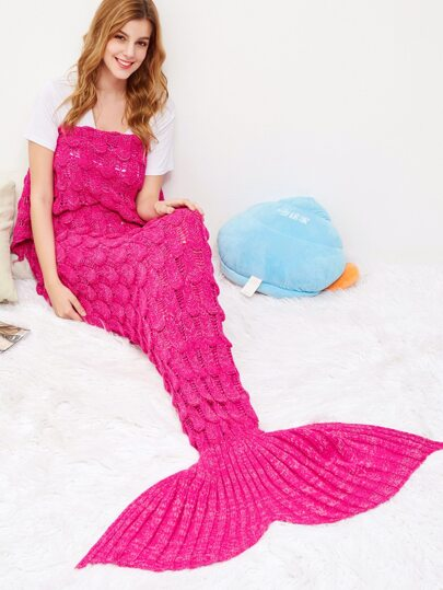 Hot Pink Fish Scale Design Knit Mermaid Blanket
