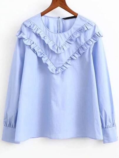 Синяя блуза с вышивкой с воланами