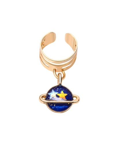 Gold Plated Blue Planet Pendant Ear Clip