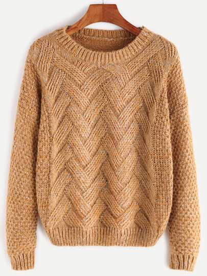 Pull en laine peigné avec épaule basse - kaki
