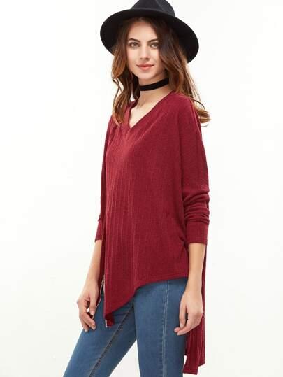 T-shirt à l'épaule laissé zip fente devant asymétrique à nervures -rouge