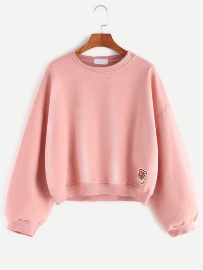 Pink Drop Shoulder Patch Loose Sweatshirt