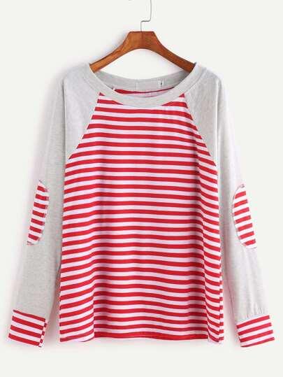 Kontrast-Raglan-Ärmel Elbow Patch Gestreiftes T-Shirt