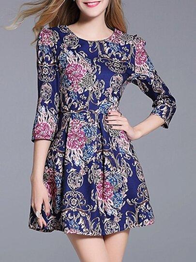 Blue Flowers Jacquard A-Line Dress