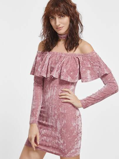 Pink Off The Shoulder Crushed Velvet Dress With Choker