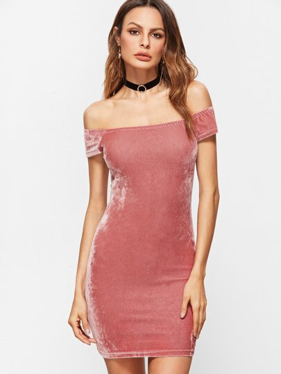 Pink Off The Shoulder Velvet Bodycon Dress