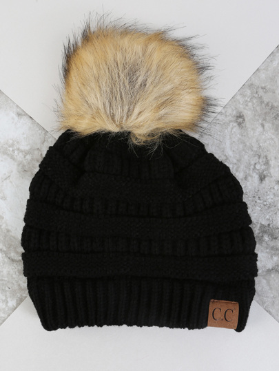 Knit Pom Pom Beanie BLACK